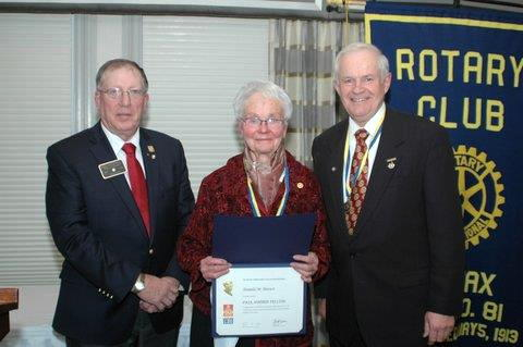 "Nov. 2013: receiving a Rotary Club of Halifax ""Paul Harris Fellowship"""